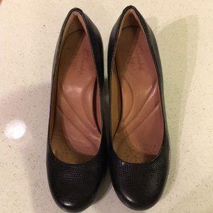Clarks black leather alligator heels, size 8